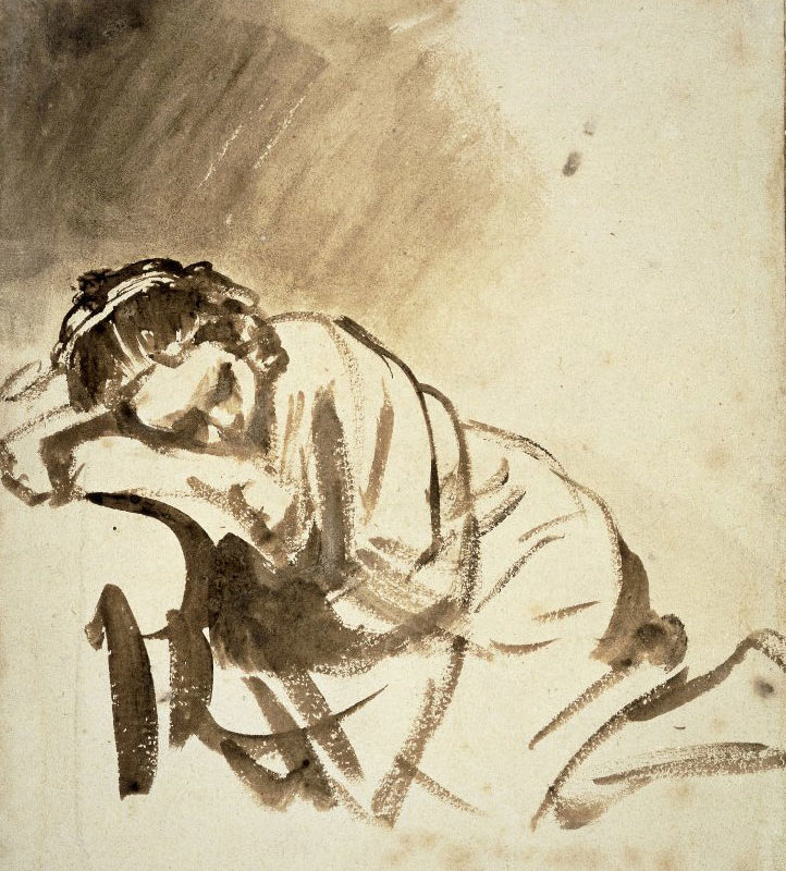 Rembrandt, A Young Woman Sleeping, Ink Drawing
