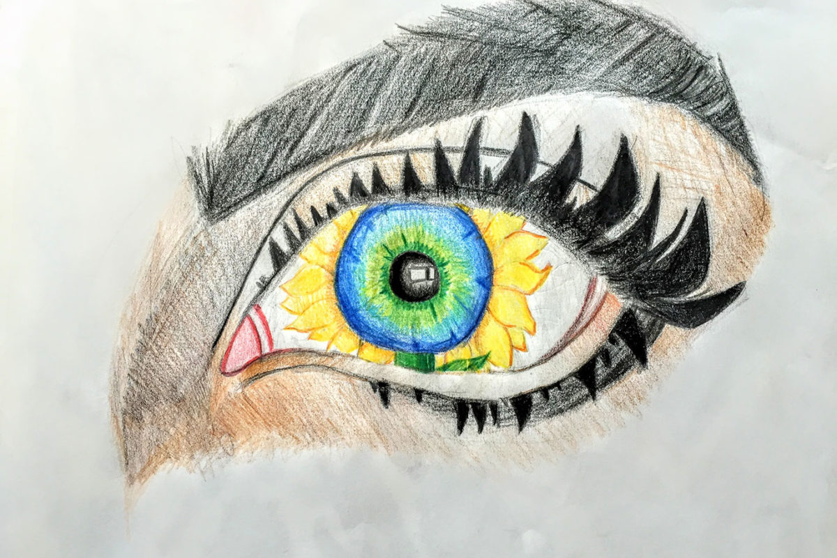 Colored Pencil Drawing by a Student at Millis High School