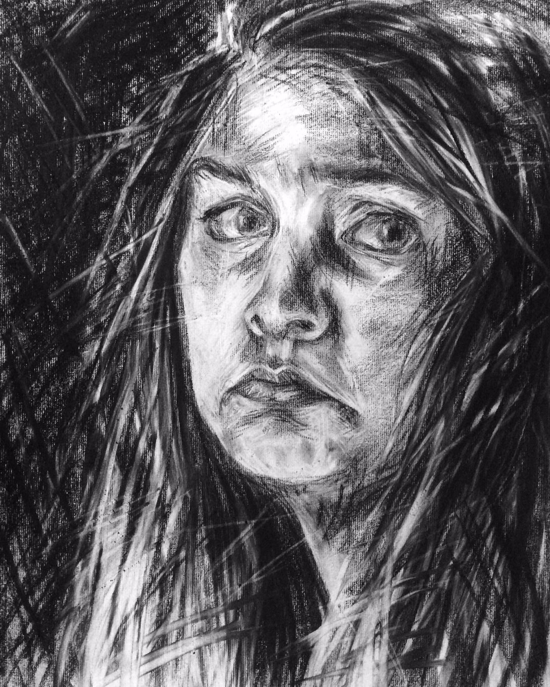 Charcoal Portrait Drawing by Amelia Rozear
