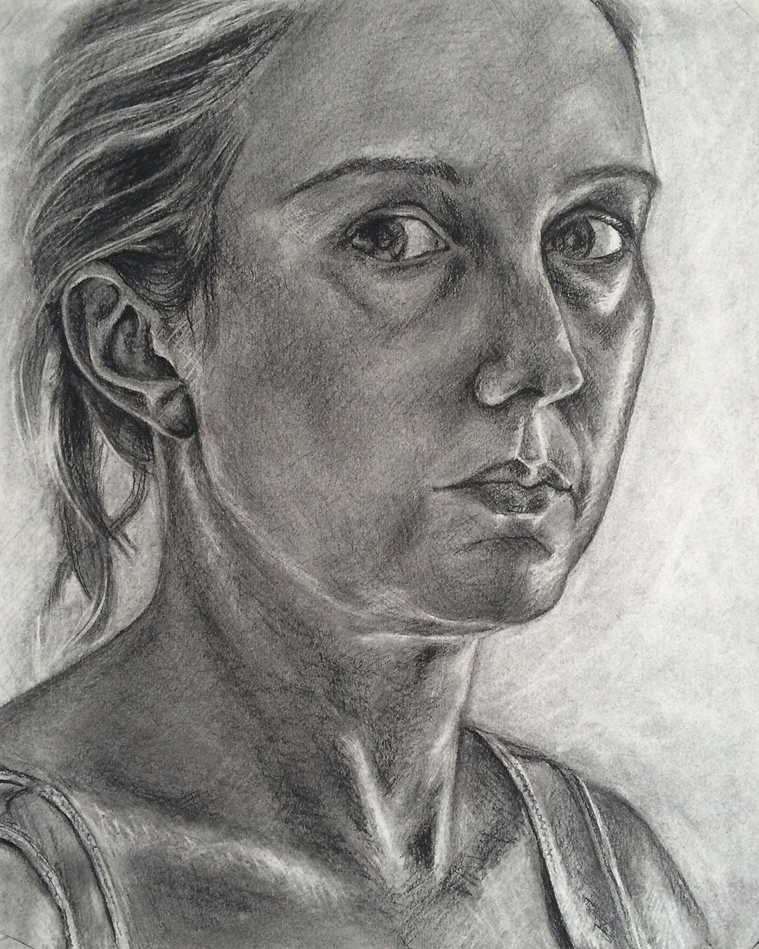 Charcoal Portrait Drawing by Lucy Springall