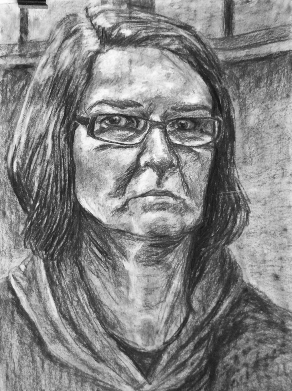 Charcoal Portrait Drawing by Jo Price