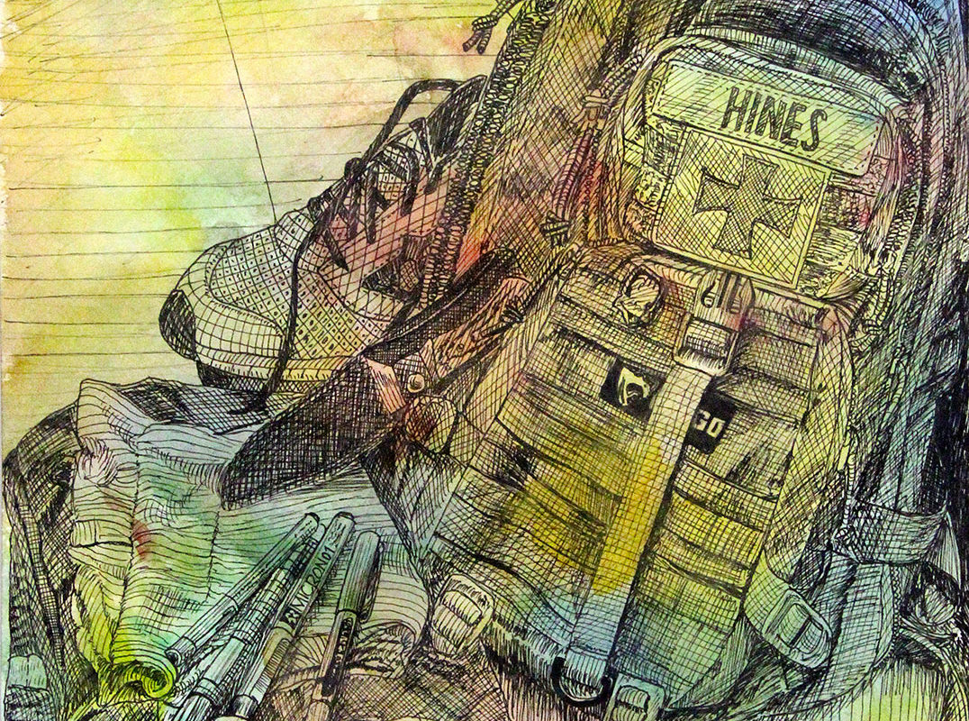 Pen & Watercolor Drawing by Ross Hines