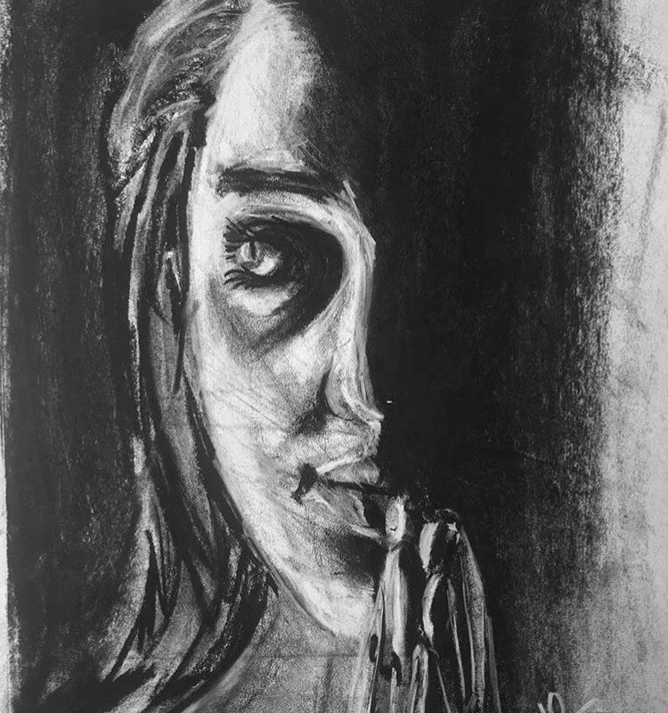 Charcoal Portrait Drawing by Heather Manson