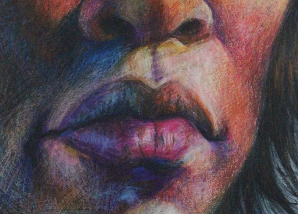 Self-Portrait drawing in Caran d'Ache crayons