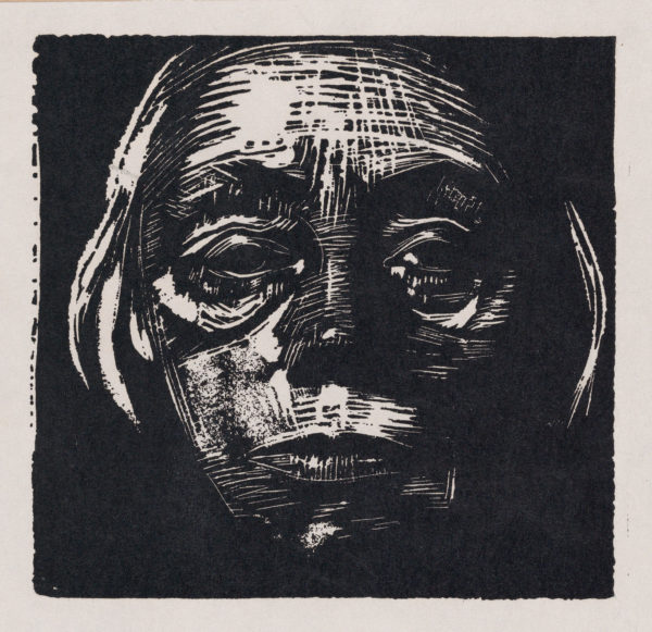 Kathe Kollwitz, Self-Portrait, woodcut print