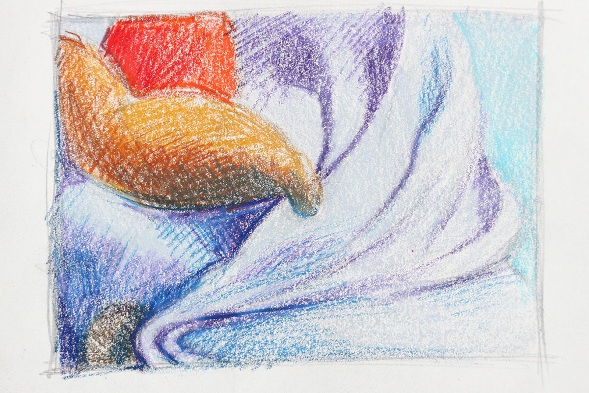 Crayon Still Life Drawing, Thumbnail Sketches