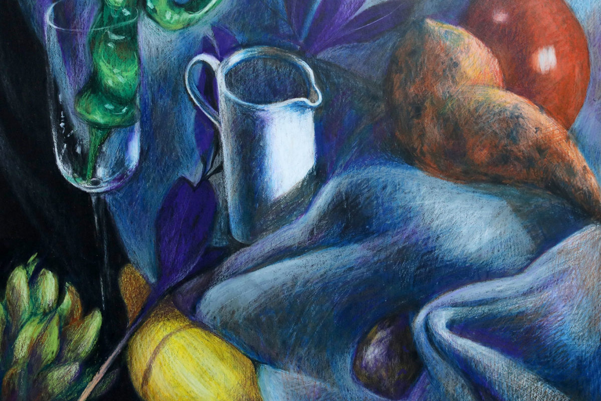 Crayon Still Life Drawing, finishedd