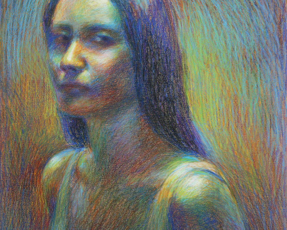 Crayon Drawing, Self-Portrait Drawing from Life, Catherine Huang