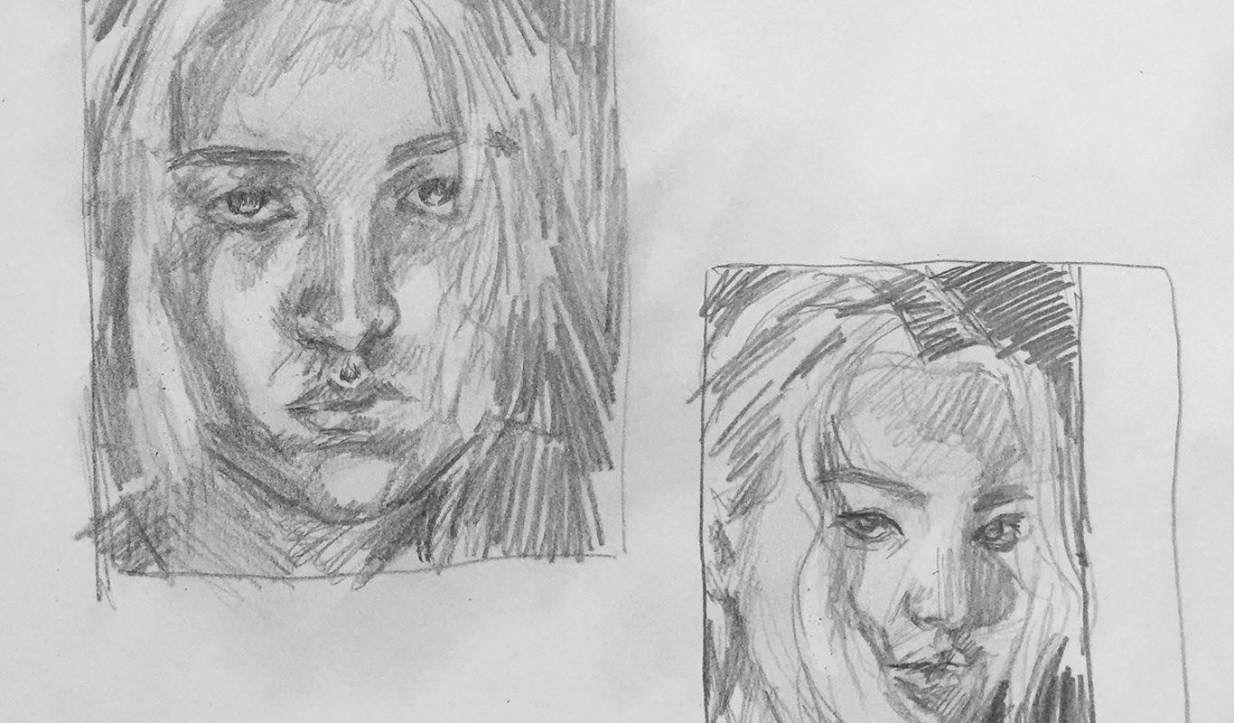 Thumbnail sketches, Self-Portrait Drawing from Life, Anna Campbell