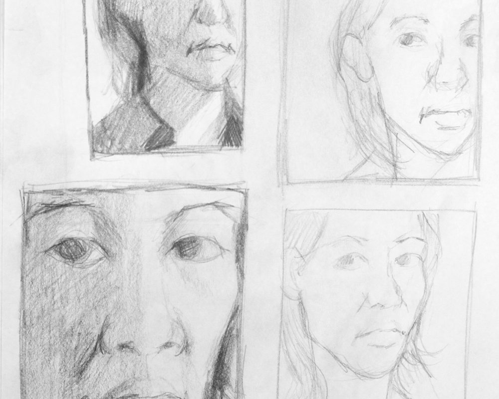 Thumbnail Sketches for a Self-Portrait Drawing