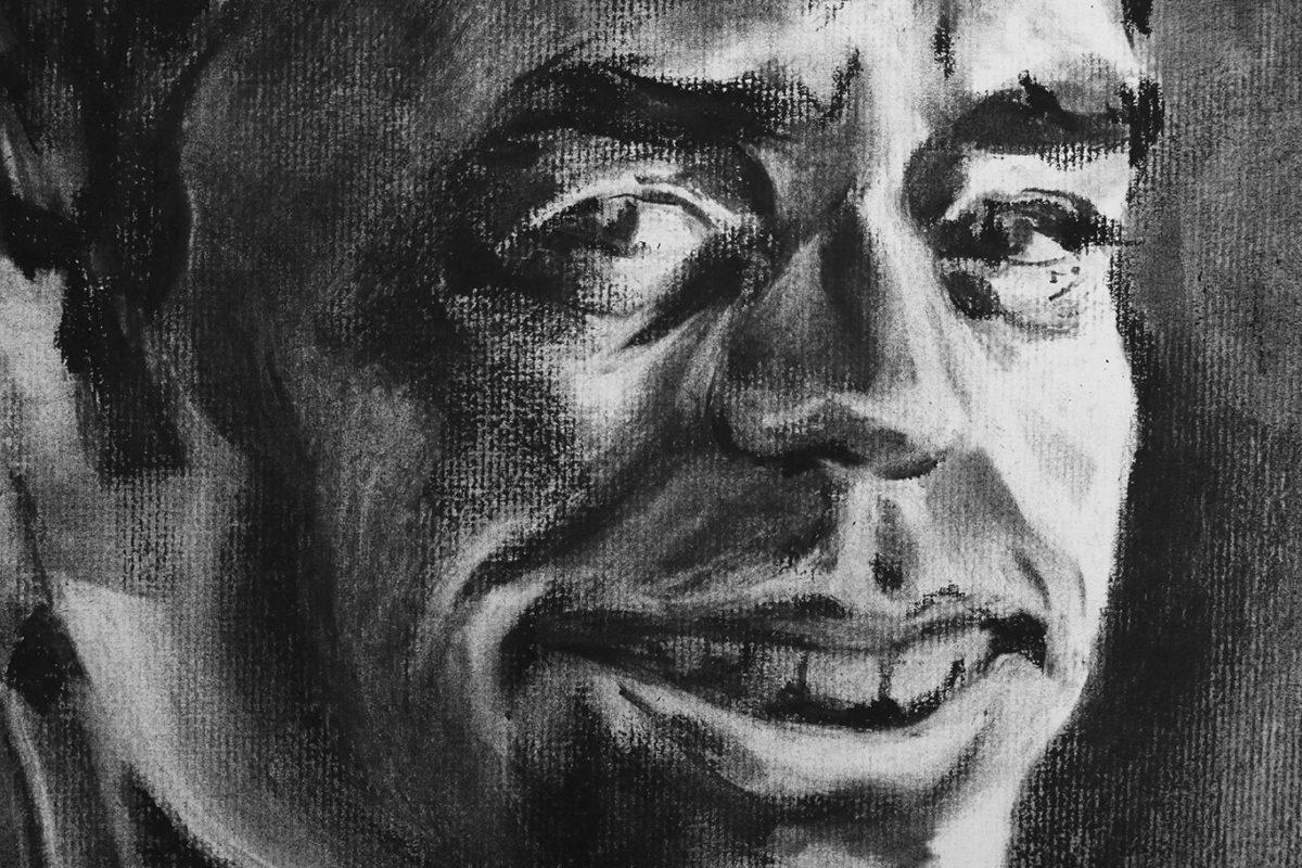 Self-Portrait Drawing, Charcoal, Casey Roonan