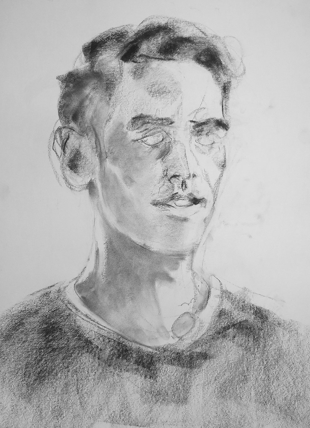 Self-Portrait Drawing, Charcoal, Casey Roonan