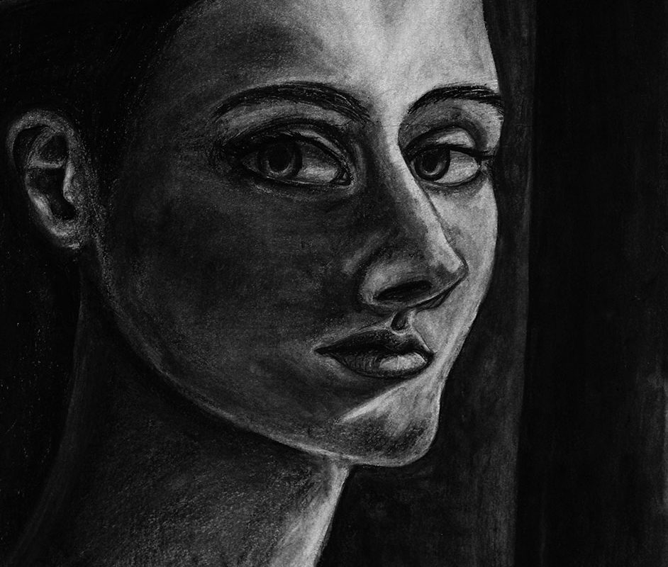 Charcoal Portrait Drawing by Shona O'Bryant