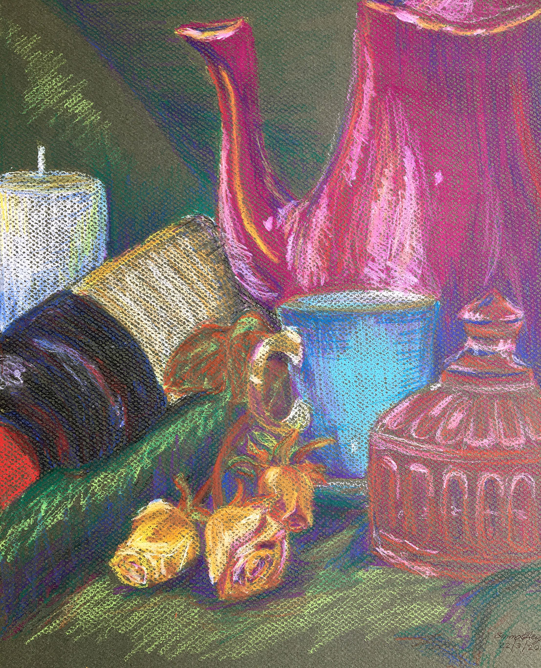 Crayon Still Life Drawing by Emma Heyes