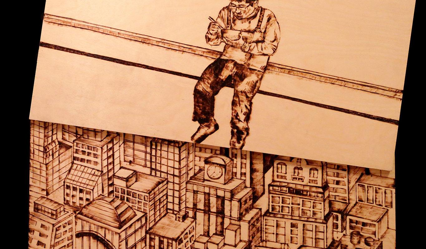 Art School Admissions Portfolio: Burned Wood Drawing