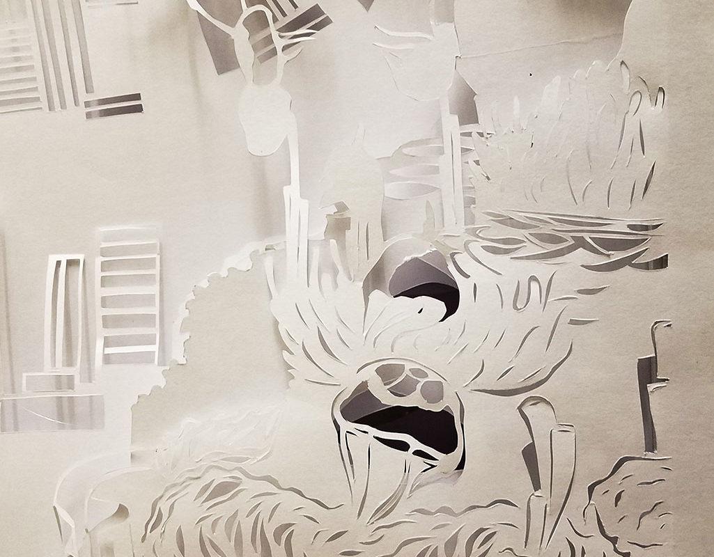 Paper Sculpture Light Installation by Sarah Wong