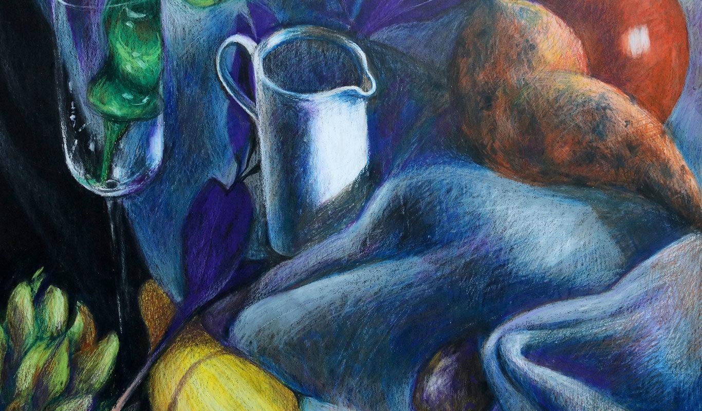 Still Life Crayon Drawing by RISD Adjunct Prof Clara Lieu