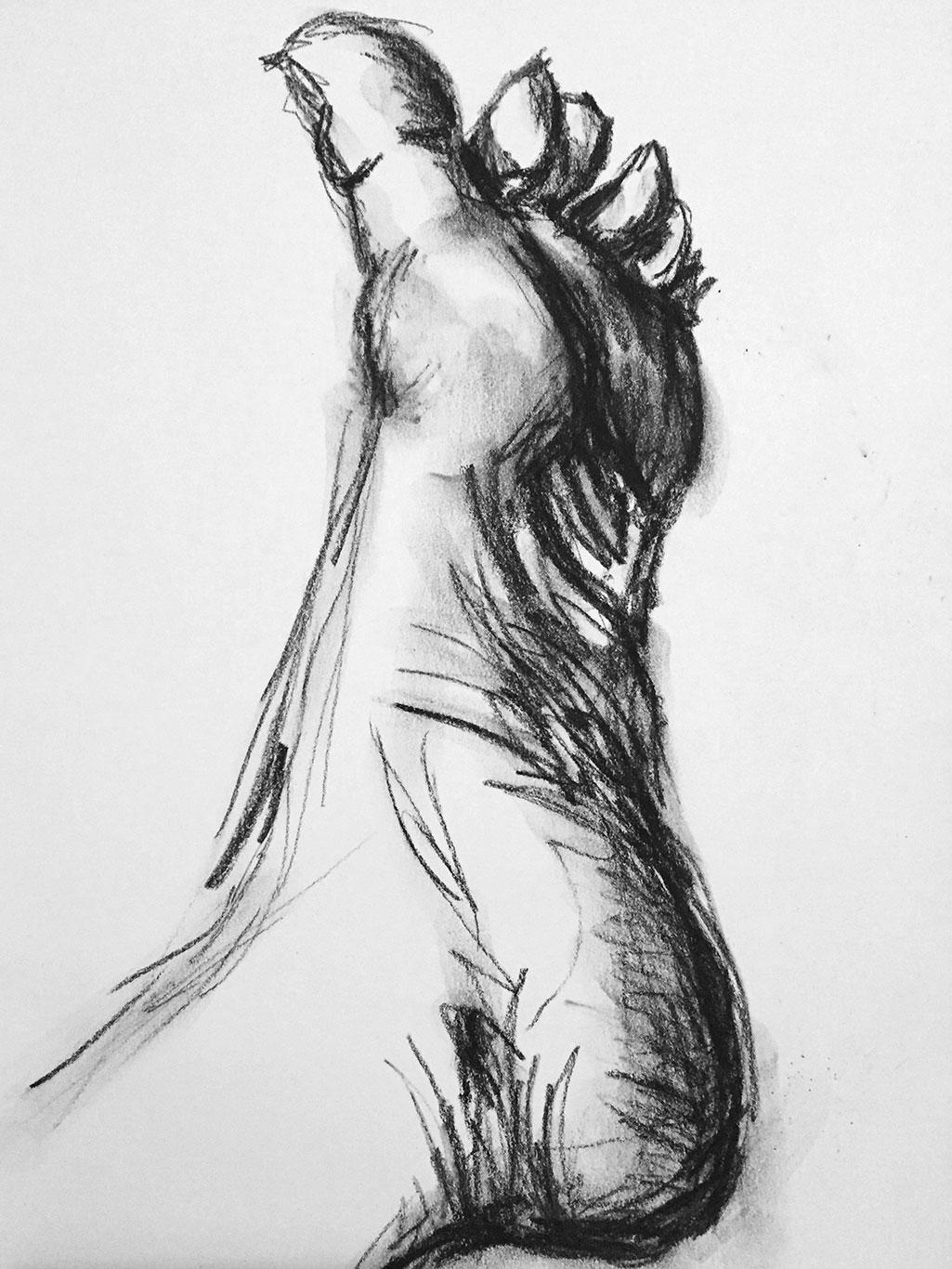 Gesture Drawing, Graphite, Susan Brents-Sheldon, USA