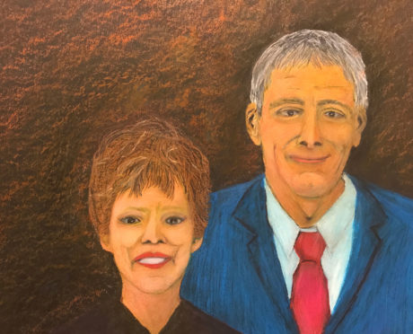 "Mick Hart, ""Me and Mom,"" crayon"