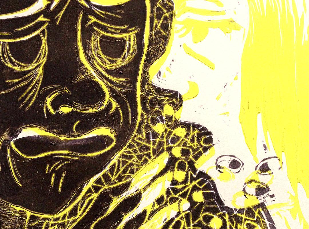Sandra Mora, Editorial Illustration, Linoleum Block Print