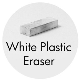 Art Supplies: White Plastic Eraser