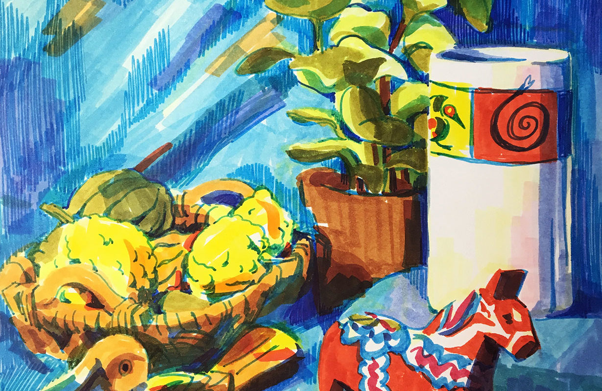 Still Life Marker Drawing, Catherine Huang
