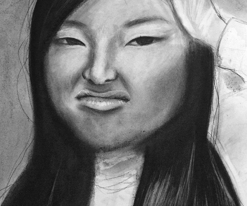 Self-Portrait Drawing in Charcoal, Ruth Lee