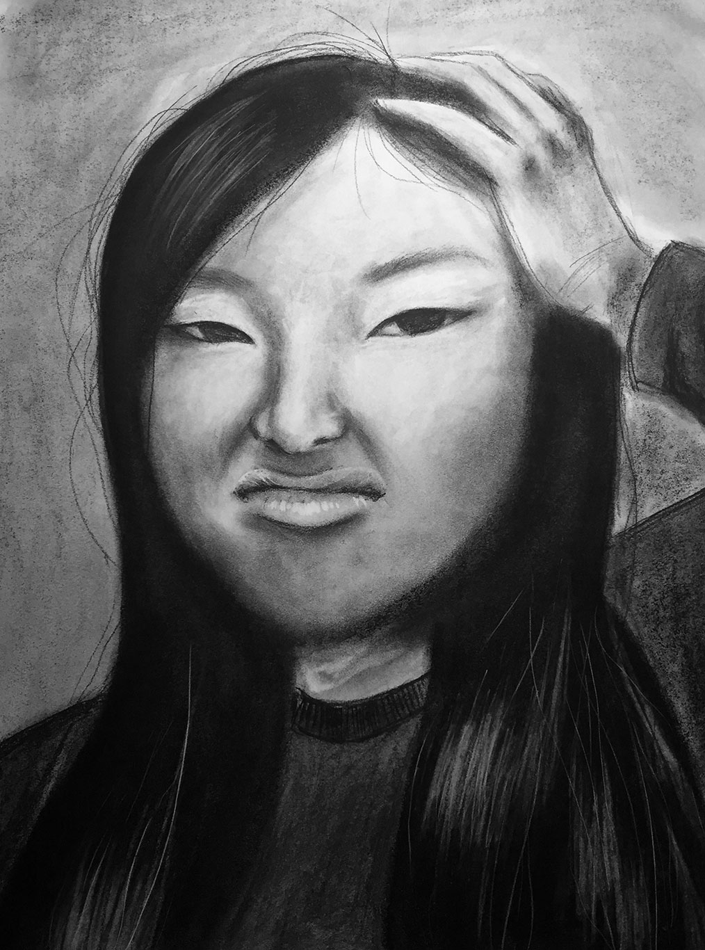 charcoal drawing how to draw a self portrait with a mirror art