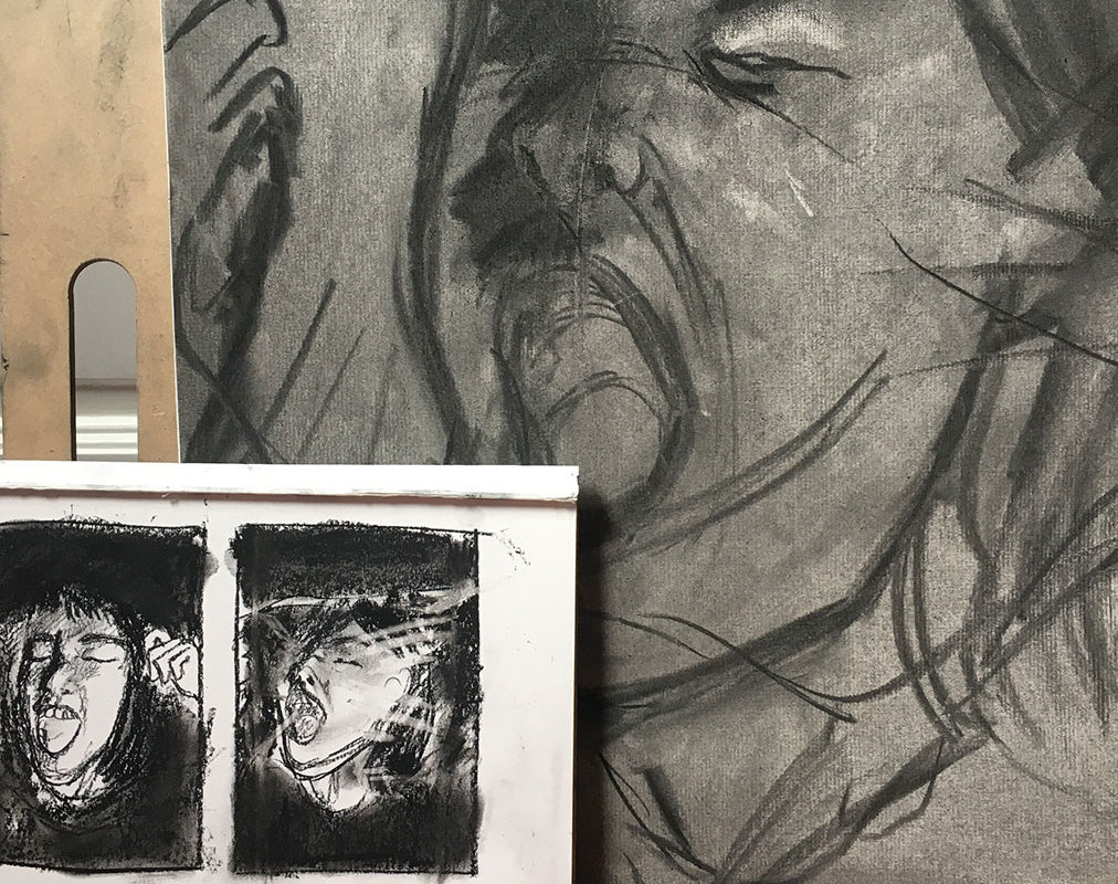 Self-Portrait Drawing in Charcoal, Alexia Towle