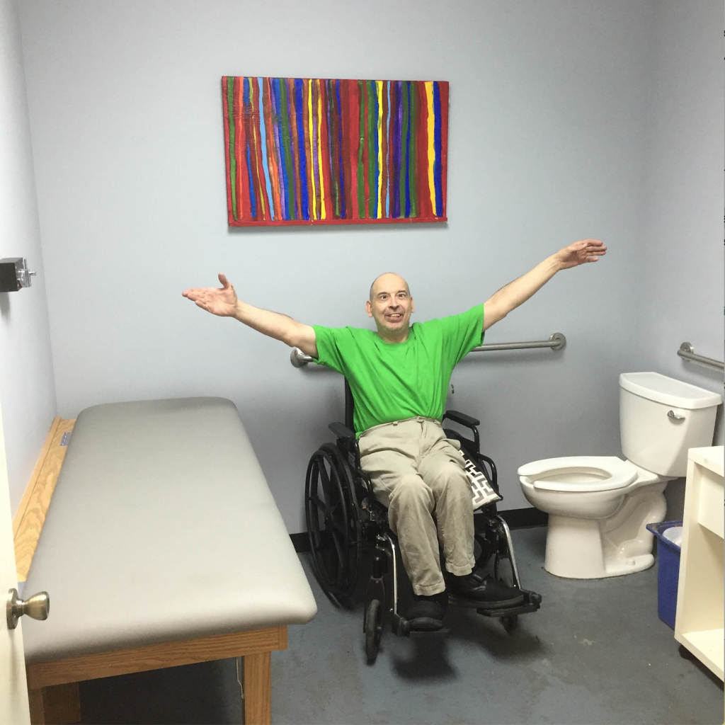 Lee shows off the new bathroom