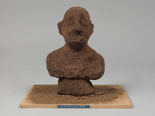 """P.O.TH.A.A.VFB (Portrait of the artist as a Vogelfutterbüste [birdseed bust]),"" (1968), multiple of chocolate and birdseed"