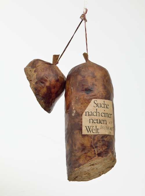"""Literature Sausage (Literaturwurst)"" (1969), artist's book of ground copy of Halbzeit by Martin Walser, gelatin, lard, and spices in natural casing"