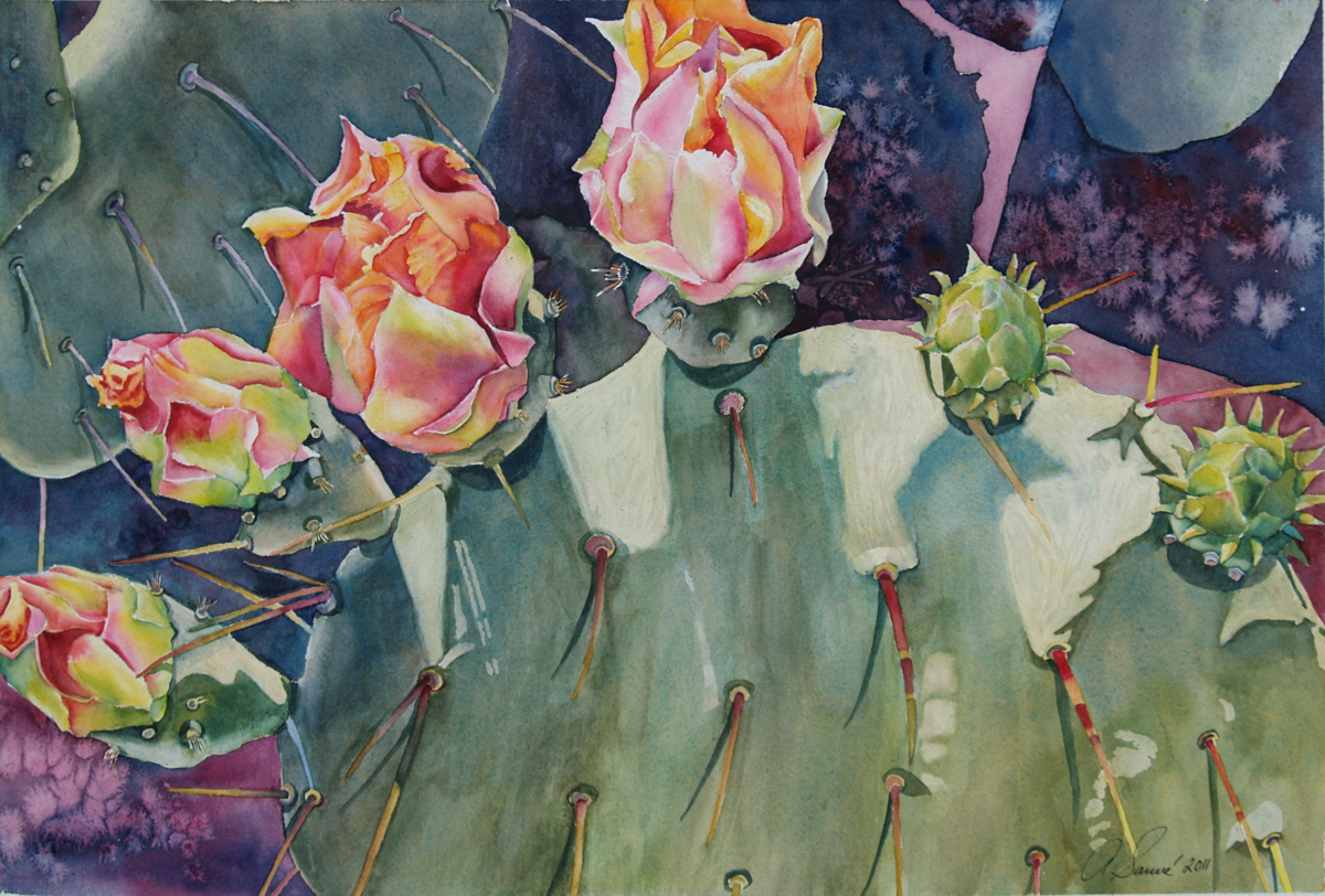 Blooming Cactus Watercolor 14