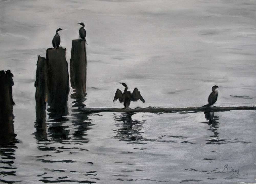 Grey, cloudy day on the Columbia River with bird silhouettes