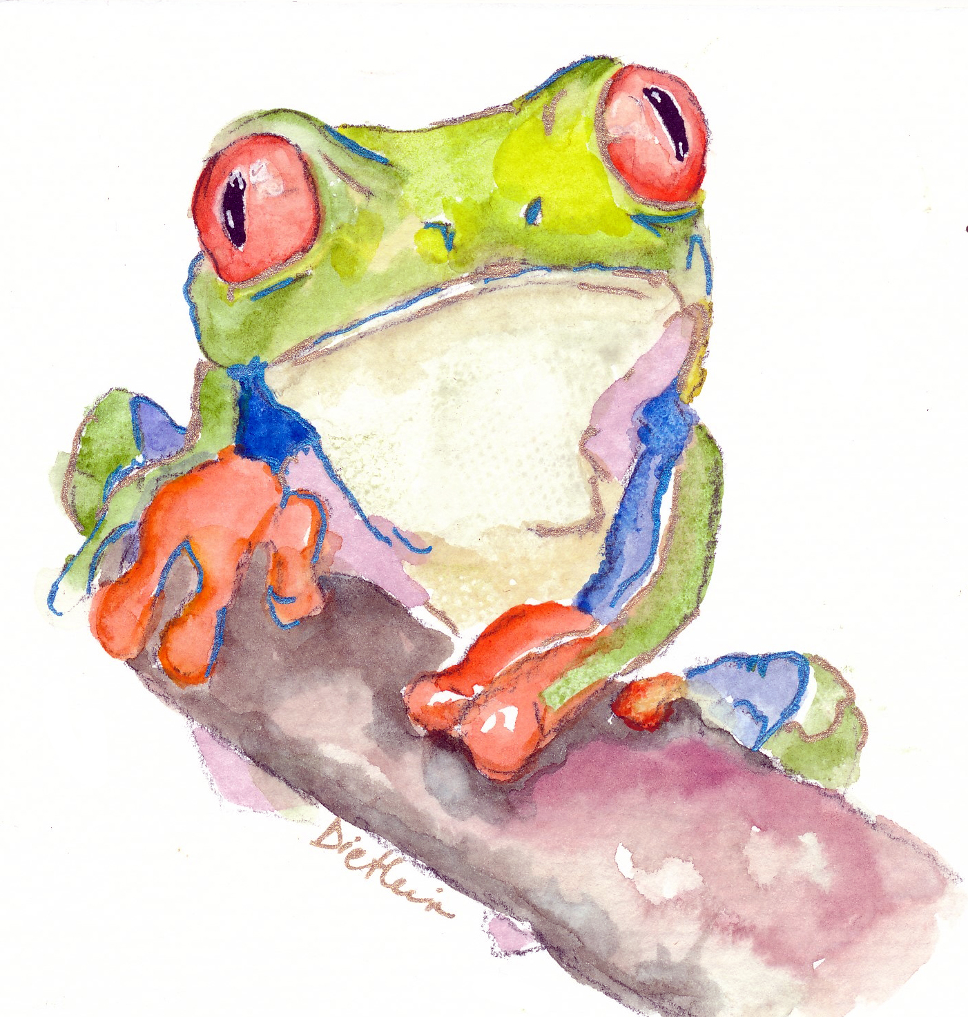 attentive frog by colleen dietlein