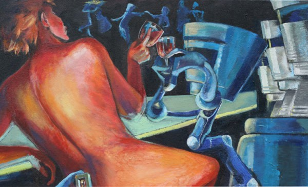 Robot and Nude Toasting to the Future