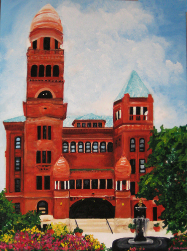 Custom Painting of Bexar County Courthouse by Texas Artist, Claire Casseb