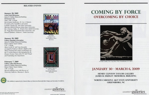 Art program for Coming by Force exhibit at North Carolina A&T State University