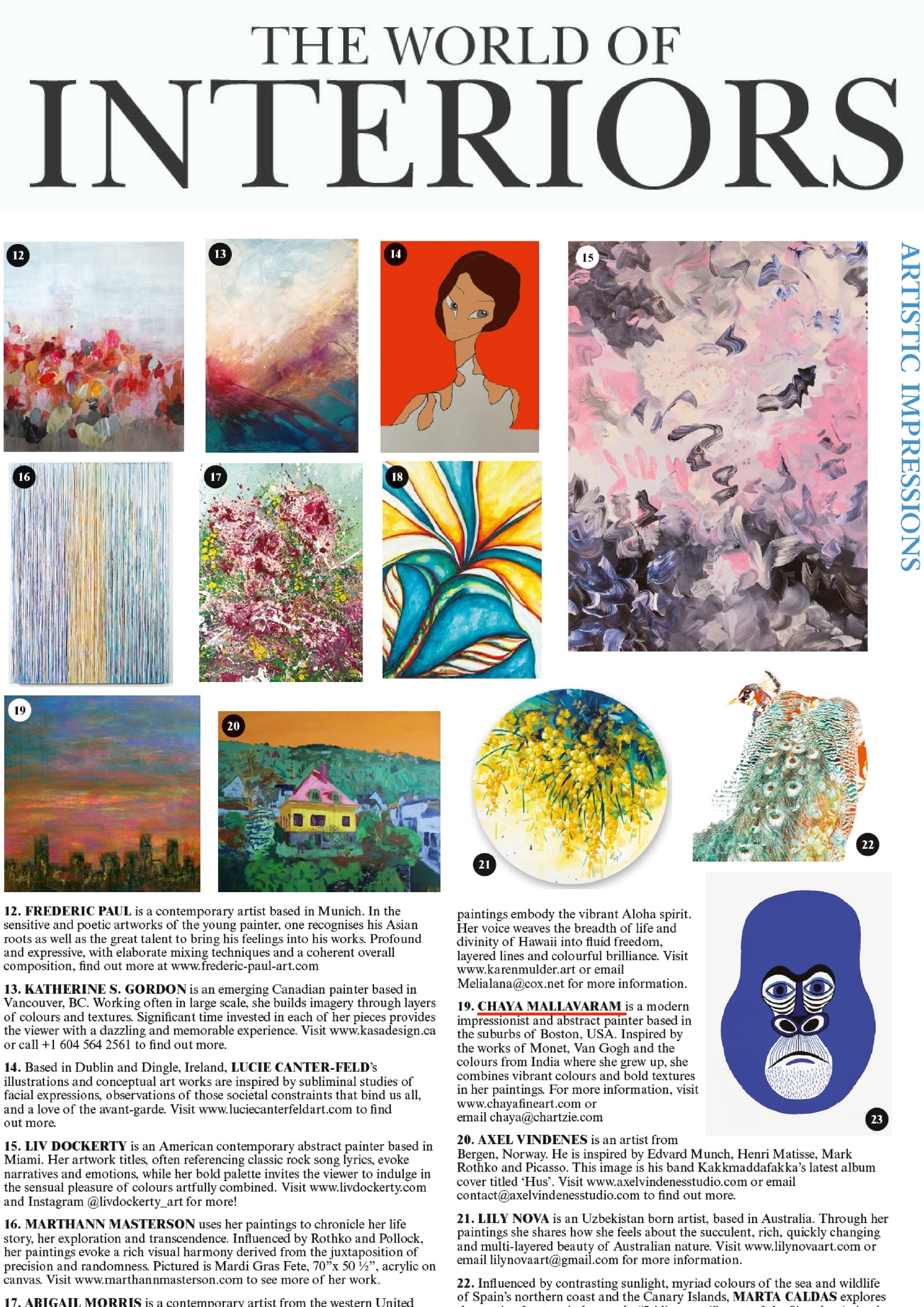 "Chaya's painting ""Boston"" on ""The World of Interiors"" Magazine"