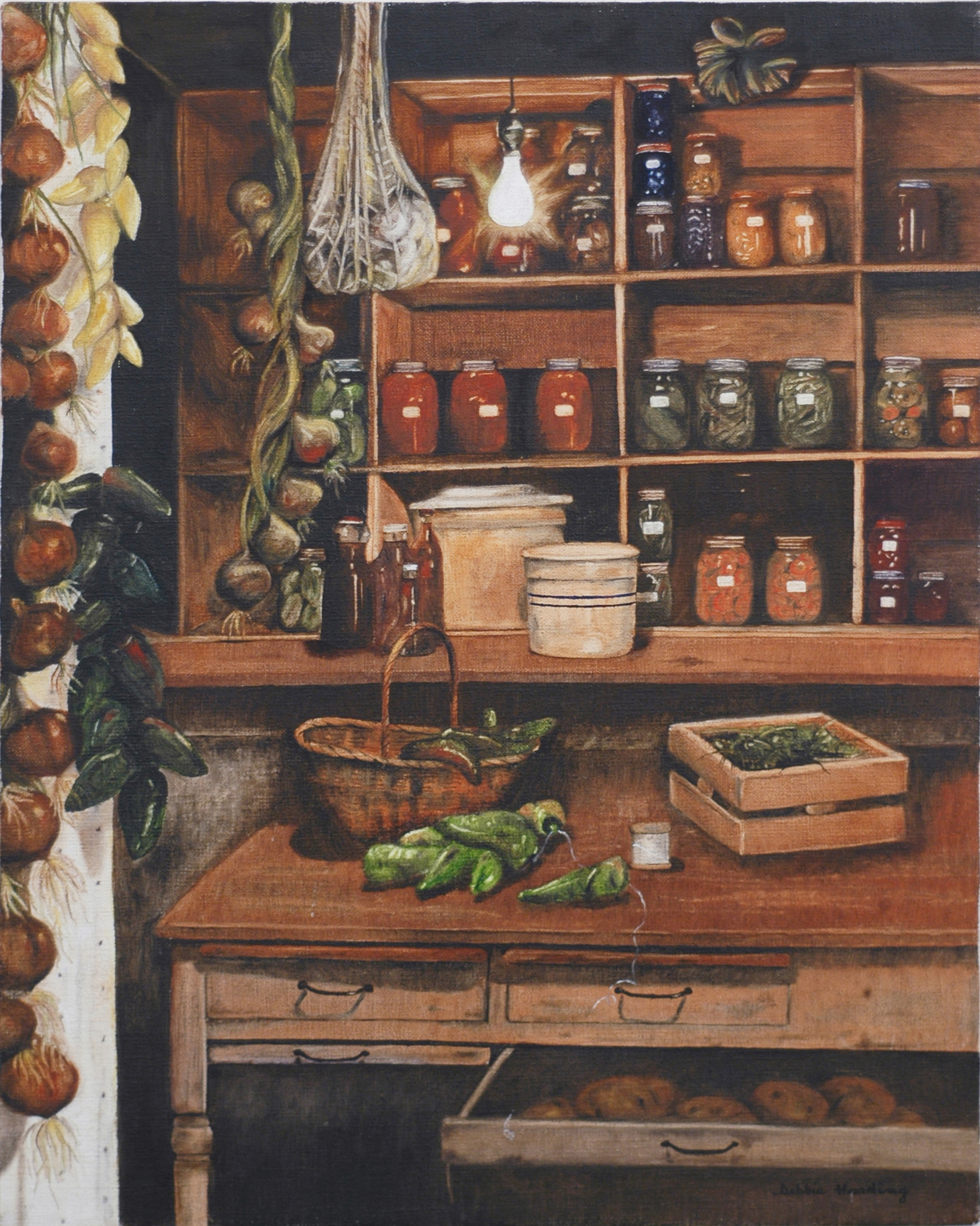 Canning Cupboard Oil Painting circa 1979