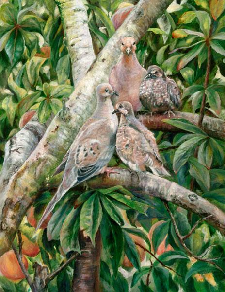 dove,peach tree