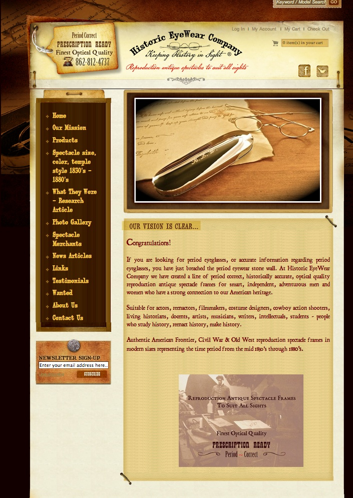 HistoricEyeWearCompany.com front page of our website
