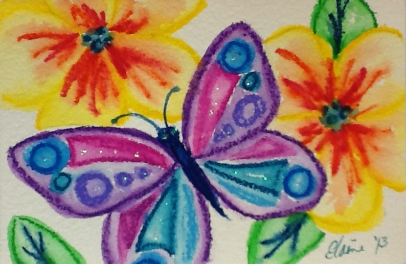 Butterfly And Flowers Using Watercolor Crayons