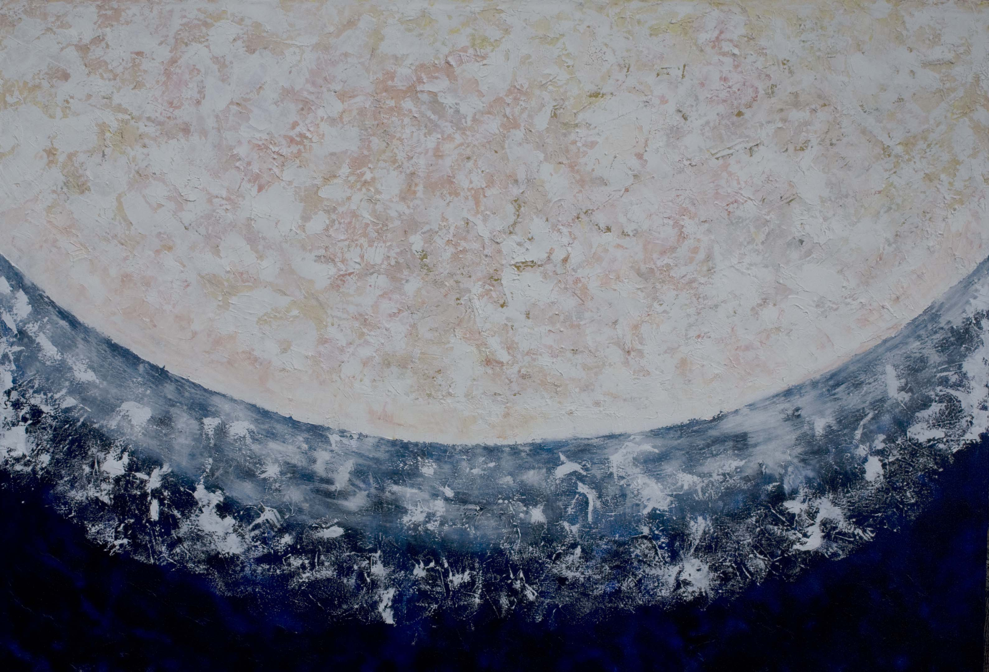 moon painting with  lot of texture in creamy colors against dark blue with light sparking off it