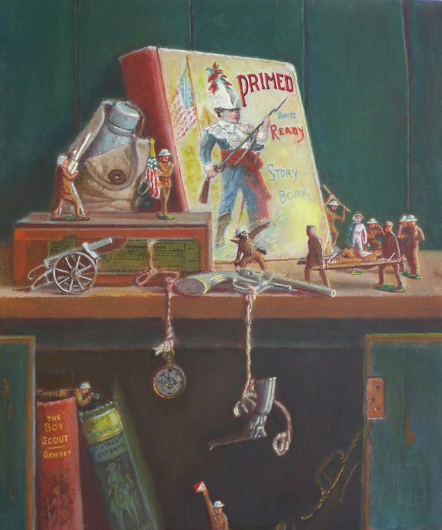 still life with toy soldiers, guns and children's book