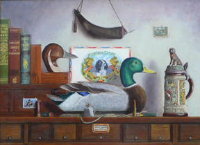 still-life with duck decoy, books and stein