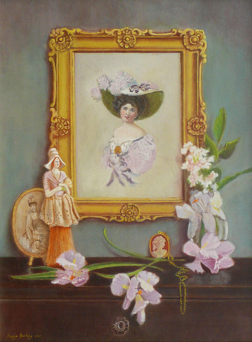 still life with victorian painting and flowers