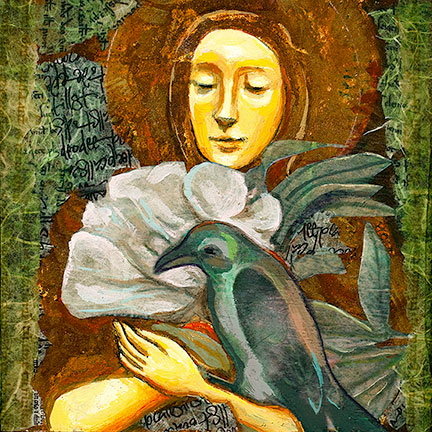 Woman Meditating with bird and flowers
