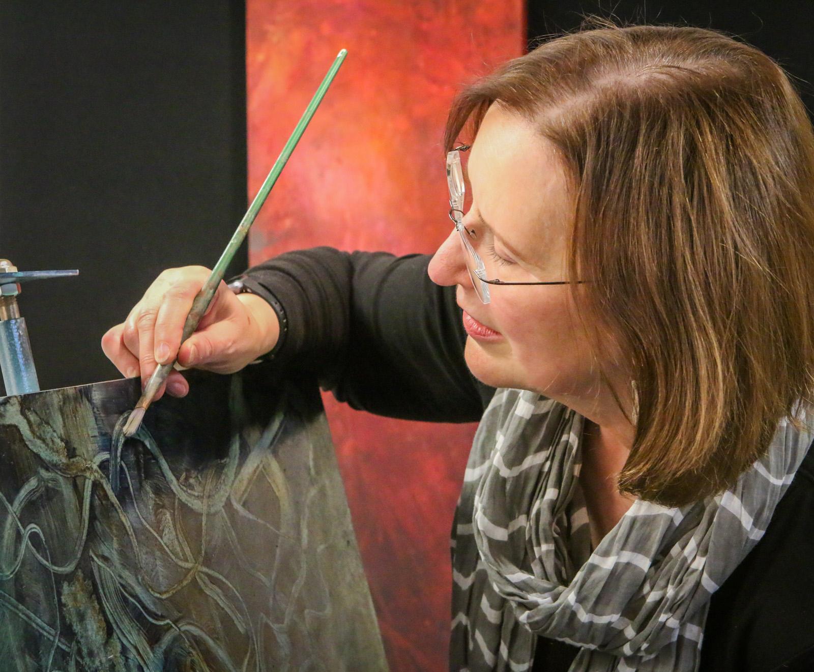 heather stivison painting in studio