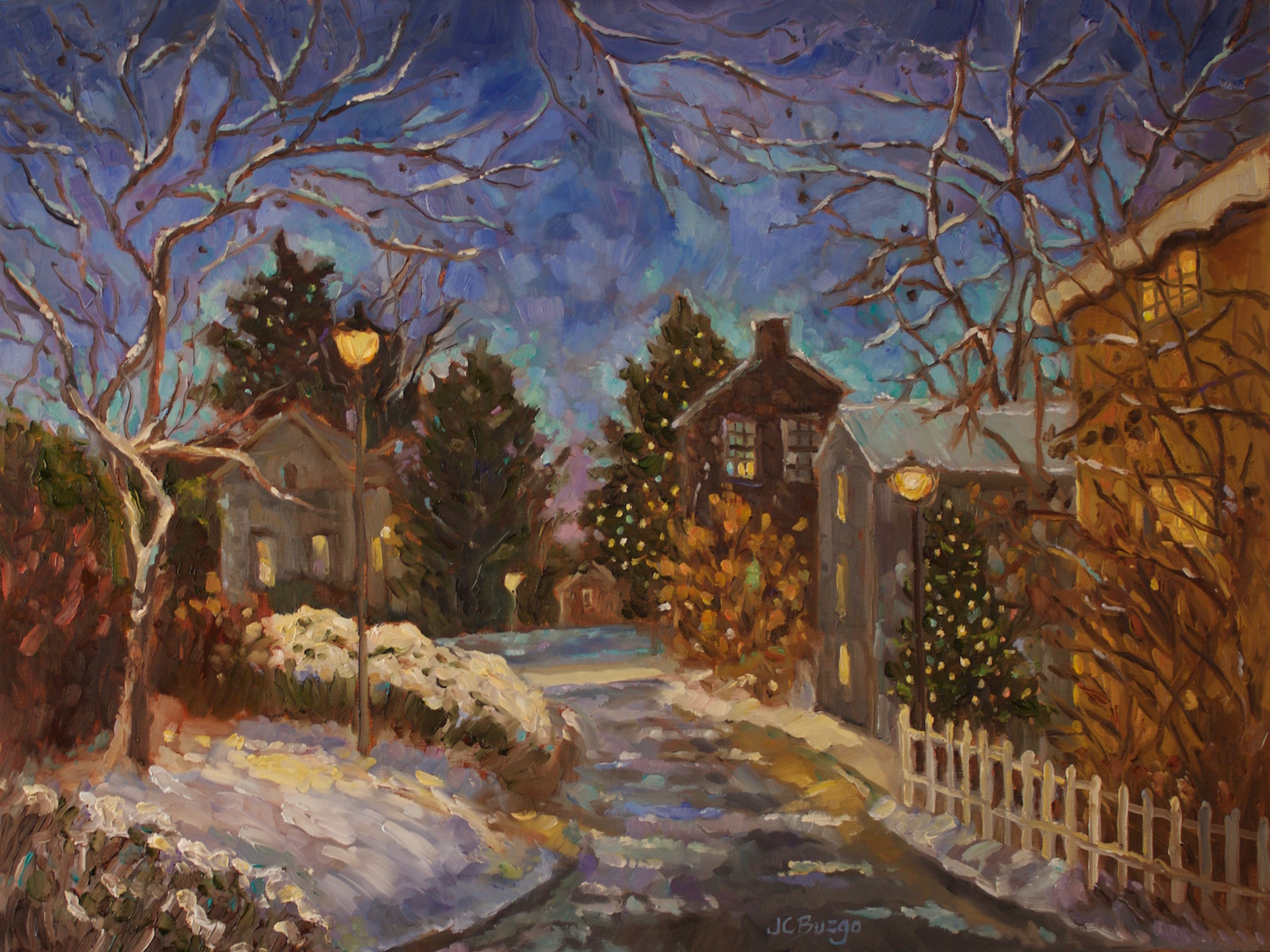 Christmas in New Hope 18x24 oil/board
